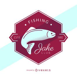 Retro fishing label logo template