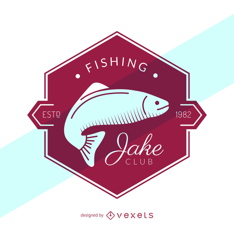 Retro fishing label logo template