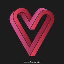 3D modelo de logotipo do coração infinito