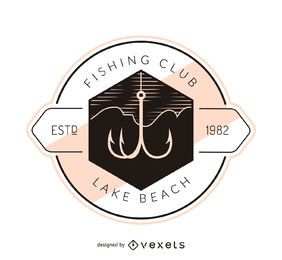 Fishing hook label logo template
