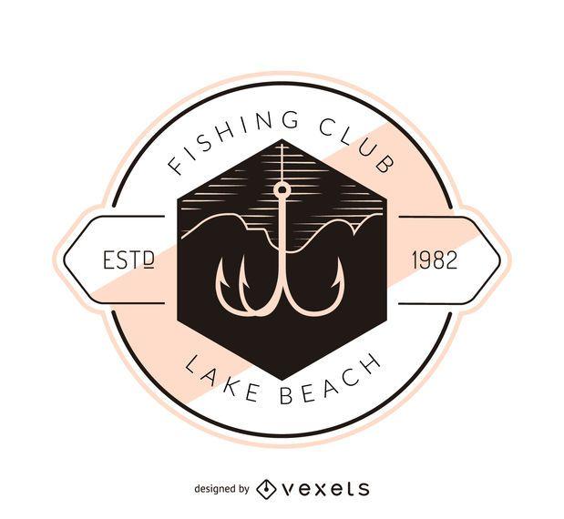Fishing hook label logo template