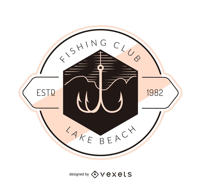 Modelo de logotipo de etiqueta de anzol de pesca