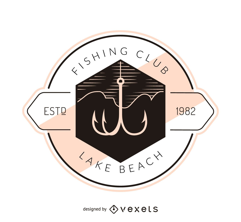 Plantilla de logotipo de etiqueta de anzuelo de pesca