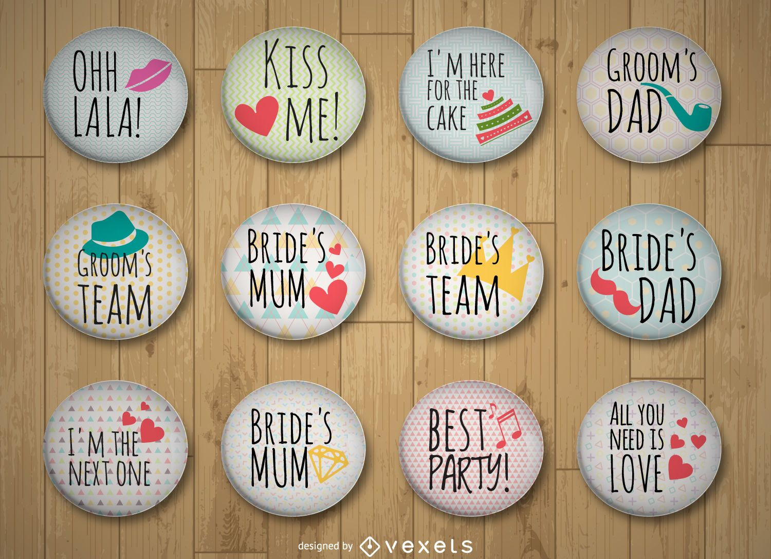 Colorful wedding pins collection