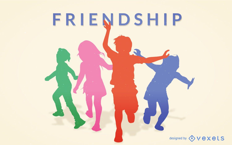 Silhueta colorida da amizade