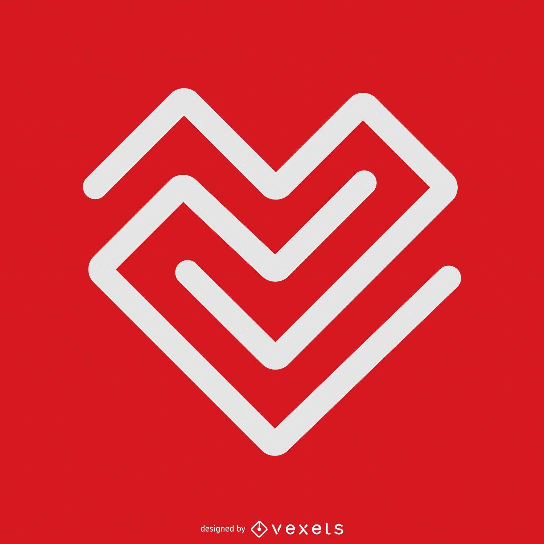 Linear heart logo template