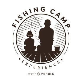 Plantilla de logotipo de etiqueta de siluetas de pesca