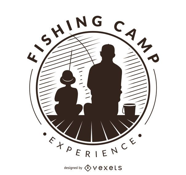 Fishing silhouettes label logo template