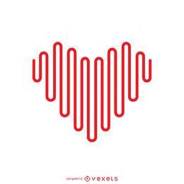 Modelo de logotipo de coração de linha minimalista