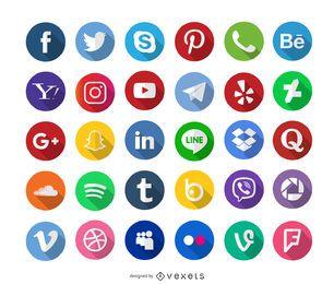 Los medios sociales iconos larga sombra