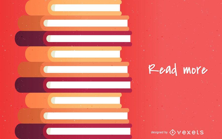 Ilustração de livros planas