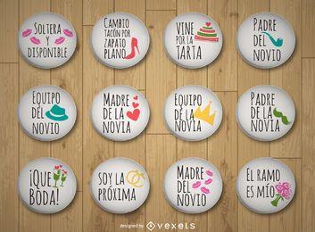 Colección de pins de boda en español.