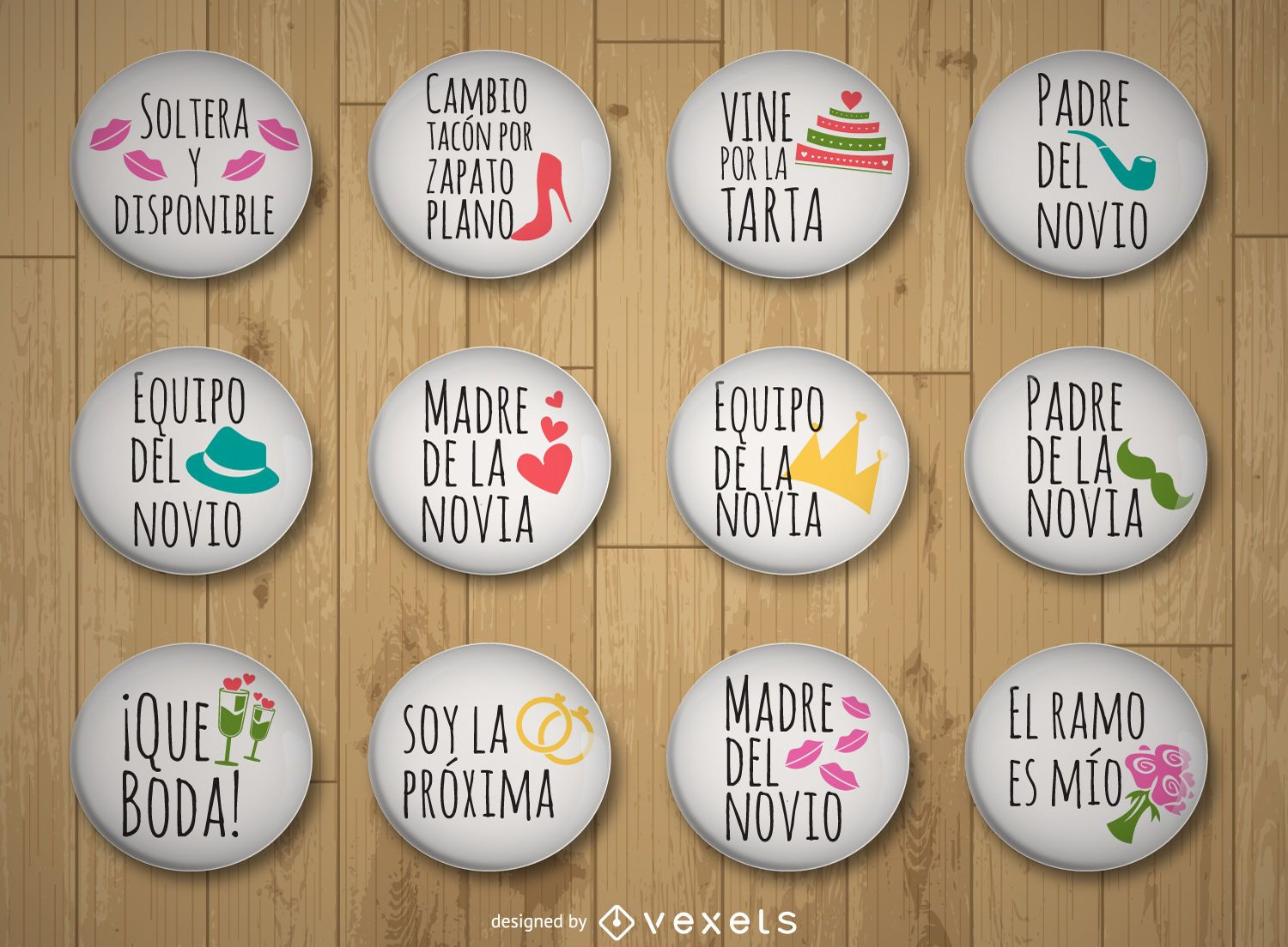 Wedding pins collection in Spanish