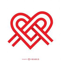 Modelo de logotipo de coração de nó de fita