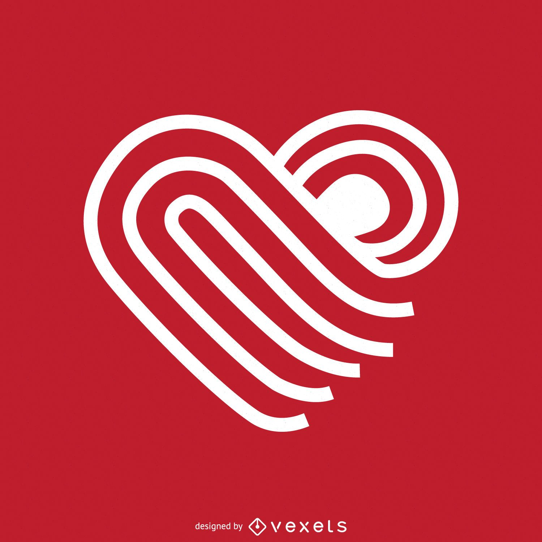 Linear heart-shaped logo template