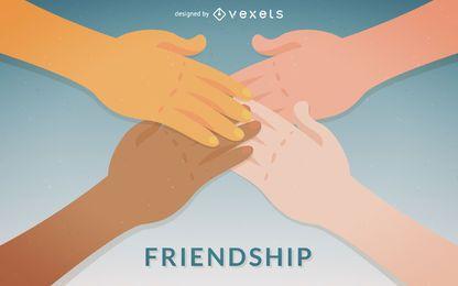 Amistad ilustración apretón de manos