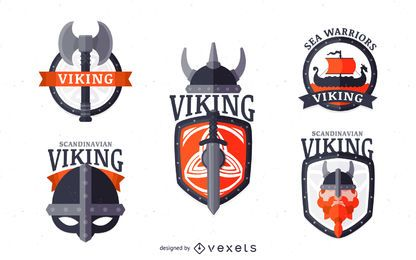 Conjunto de emblema de etiqueta vikingos