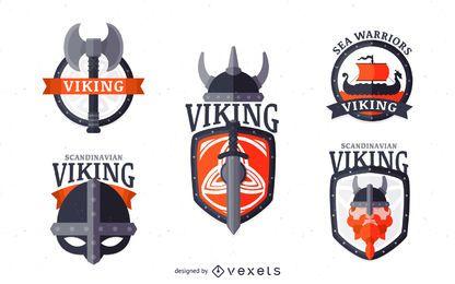 Vikingos etiqueta conjunto emblema