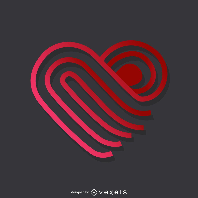 Modelo de logotipo de coração com linhas gradientes