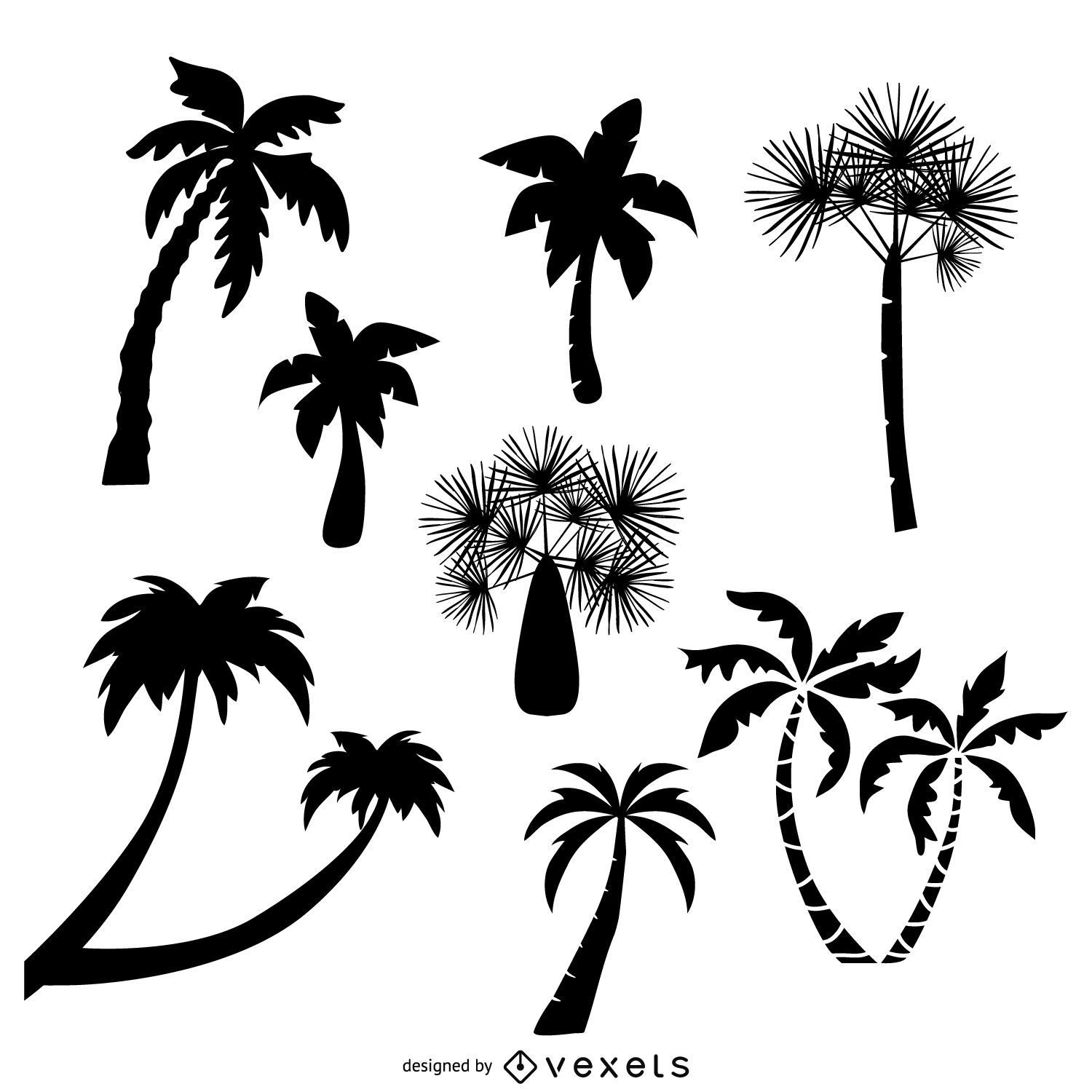 Collection of palm trees silhouettes  Vector download
