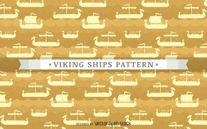 Vikingo patrón de barcos de fondo