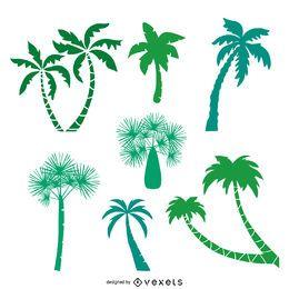 Pack de siluetas de palmeras verdes.