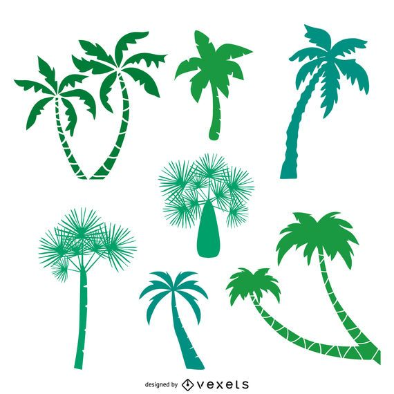 Green palm trees silhouettes pack
