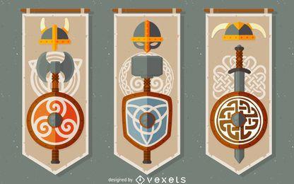 Conjunto de banners de vikingos celtas