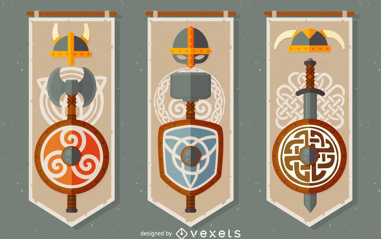 Celtic vikings banner set