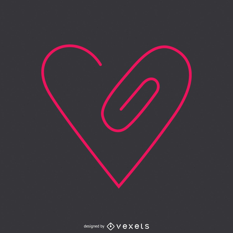 Flat linear heart logo template