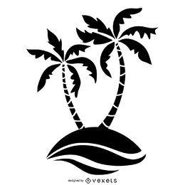 Ilustração de silhueta de árvore de palma