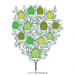 Árbol genealógico con hojas y marcos.