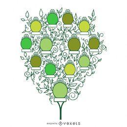 Árvore genealógica com folhas e molduras