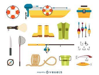 Conjunto de ícones de elementos de pesca