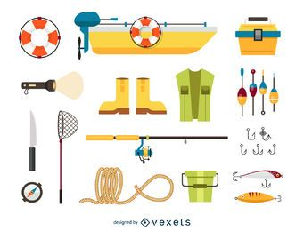 Fishing elements icon set