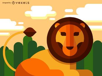 Flat geometric lion illustration