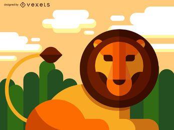 Piso ilustración león geométrica