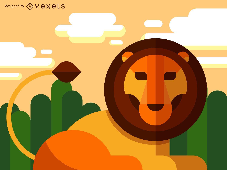 Ilustración de león geométrico plano