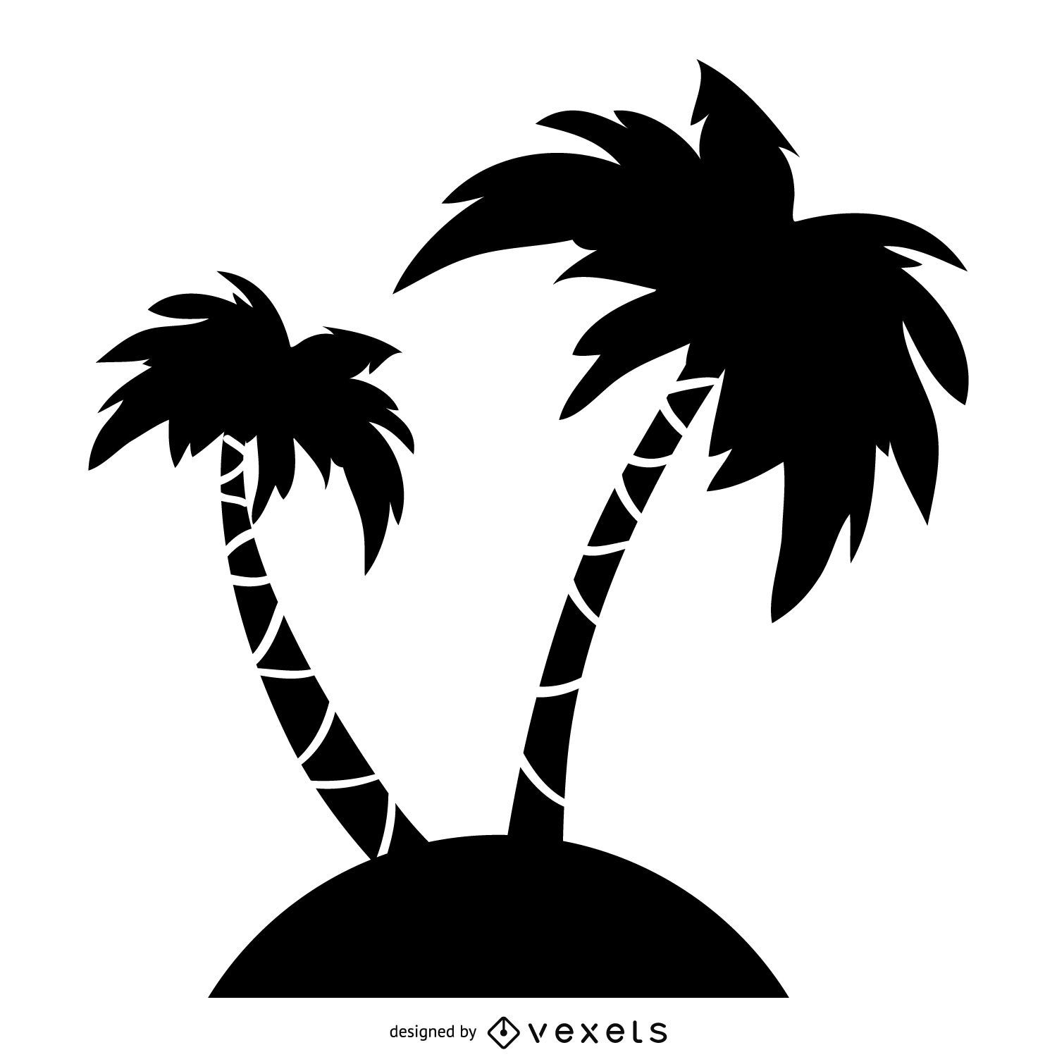 Palm Tree Island: Palm Trees Silhouette Illustration