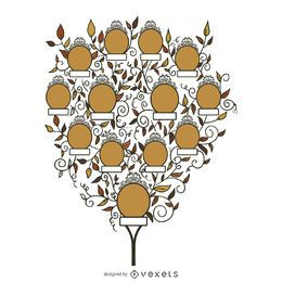 Árvore genealógica com modelo de folhas