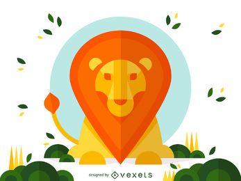 Projeto da ilustração do leão Geometric