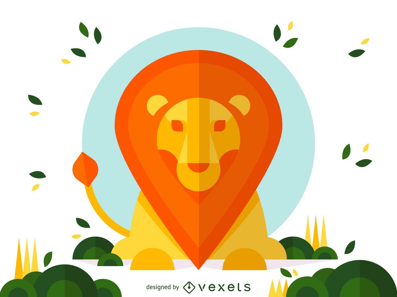 Diseño de ilustración de león geométrico