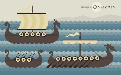 Ilustración de barcos vikingos