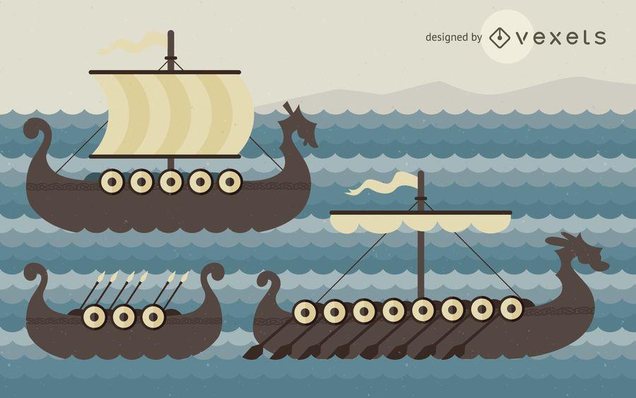 Viking ships illustration