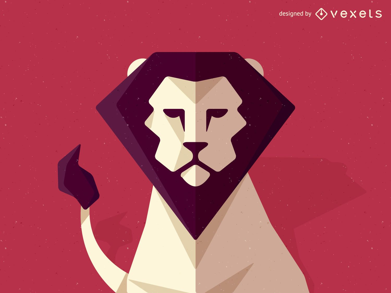 Ilustración de león poligonal