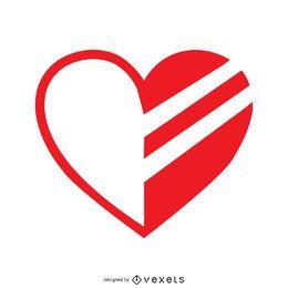 Modelo de logotipo com coração parcialmente pintado