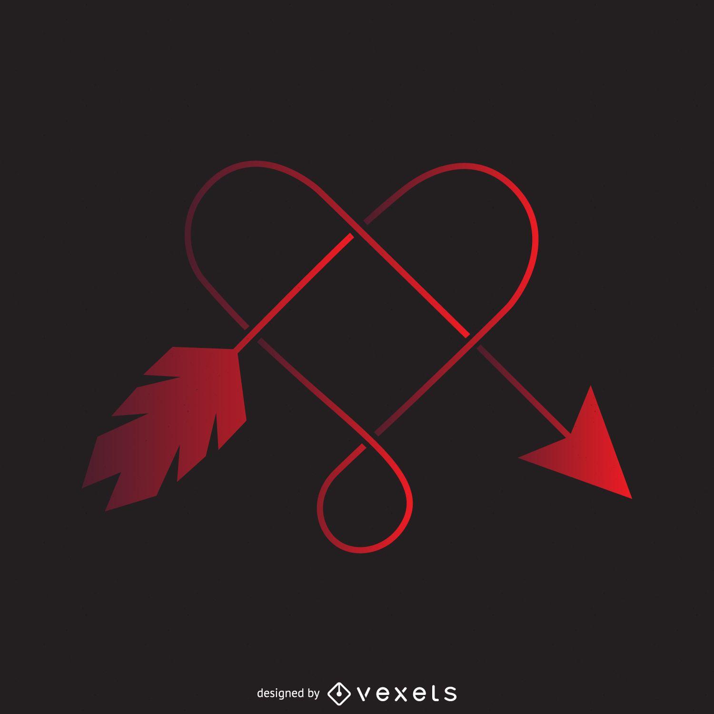 Heart and arrow logo template