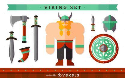Personagem Viking com elementos