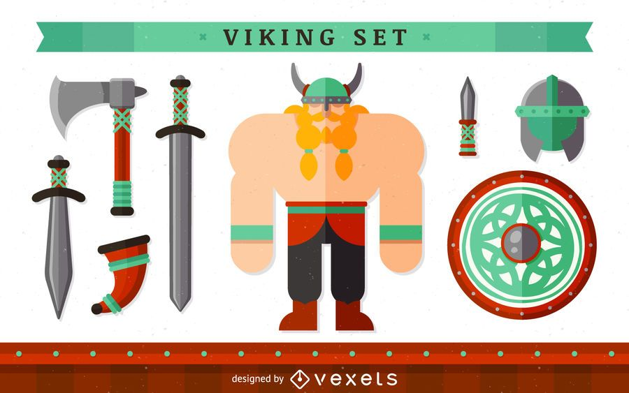 Viking character with elements