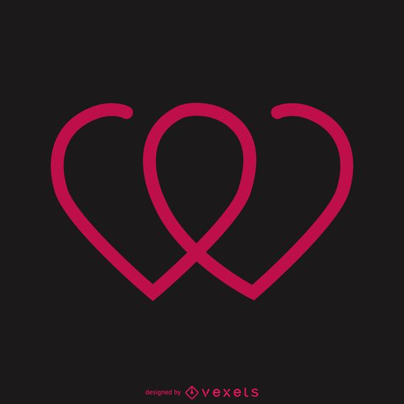 Two hearts together logo template